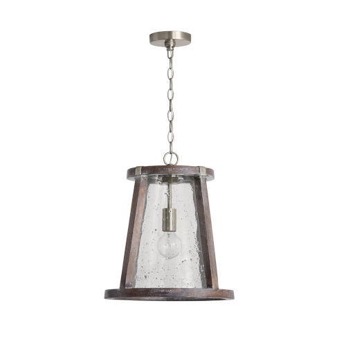 Connor Black Wash and Matte Nickel 20-Inch One-Light Pendant with Clear Stone Seeded Glass