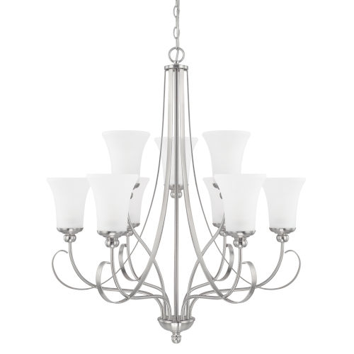 HomePlace Griffin Brushed Nickel 31-Inch Nine-Light Chandelier