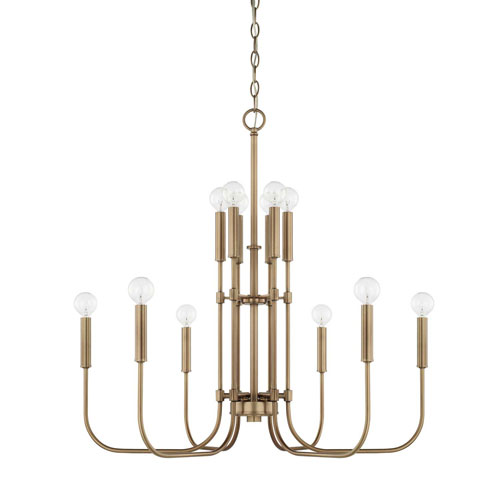 Capital Lighting Fixture Company Zander Aged Brass 12-Light Chandelier