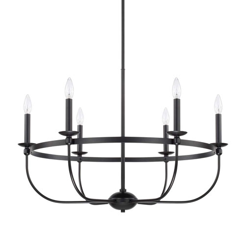 Rylann Matte Black Six-Light Chandelier