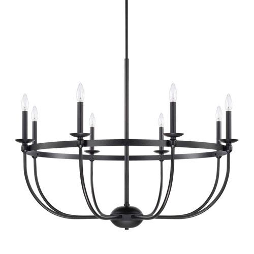 Capital Lighting Fixture Company Rylann Matte Black Eight-Light Chandelier