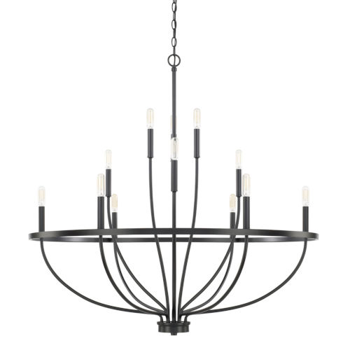 HomePlace Greyson Matte Black 40-Inch 12-Light Chandelier