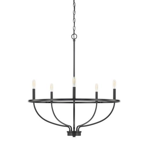 HomePlace Greyson Matte Black 29-Inch Five-Light Chandelier