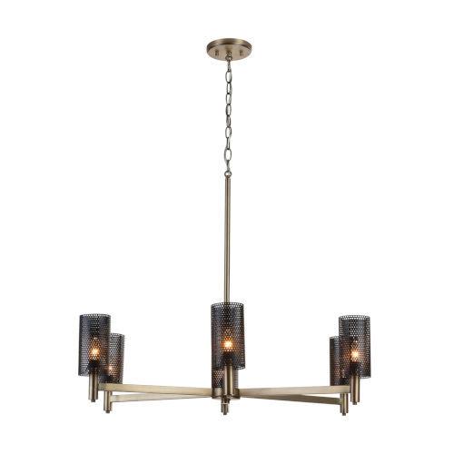 Dax Aged Brass and Black Six-Light Chandelier