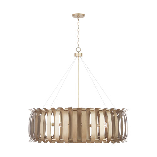 Cayden Aged Brass Painted Eight-Light Chandelier