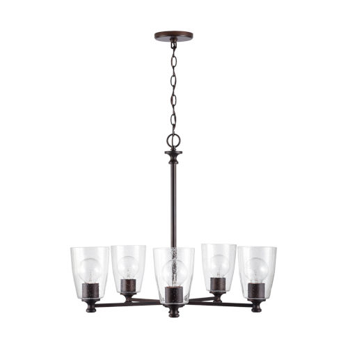 HomePlace Myles Bronze Five-Light Chandelier with Clear Seeded Glass