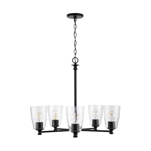 HomePlace Myles Matte Black Five-Light Chandelier with Clear Seeded Glass