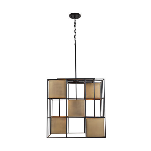 Paxton Aged Brass and Black Five-Light Foyer Pendant