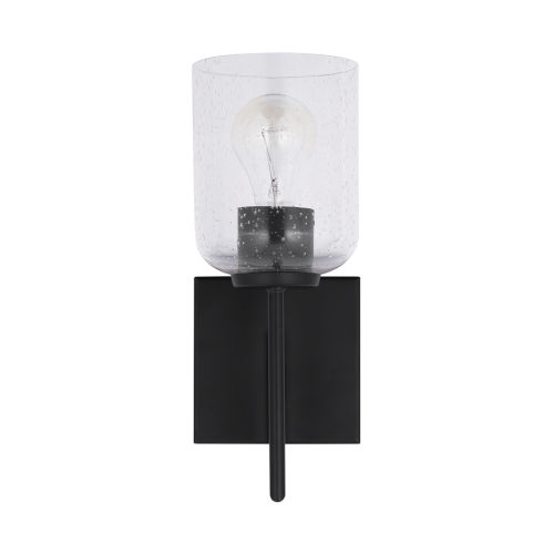 HomePlace Carter Matte Black Sconce with Clear Seeded Glass