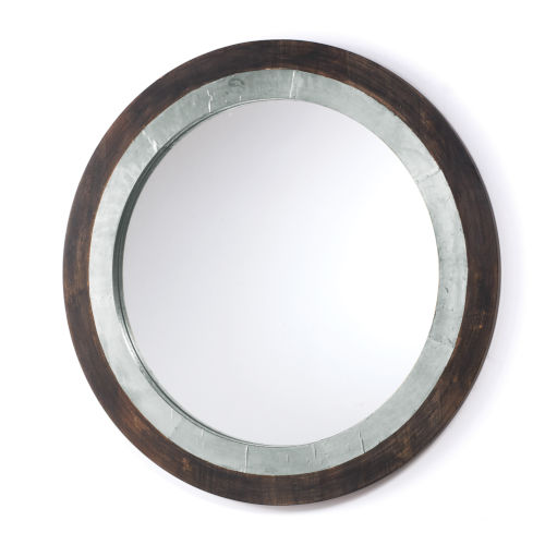 Distressed Wood and Aluminum 31-Inch Mirror