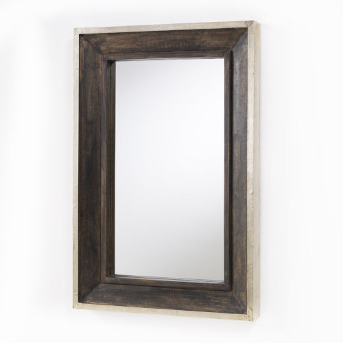 Distressed Wood and Aluminum 24-Inch Mirror