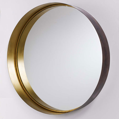 Brushed Bronze and Brass Round Wall Mirror