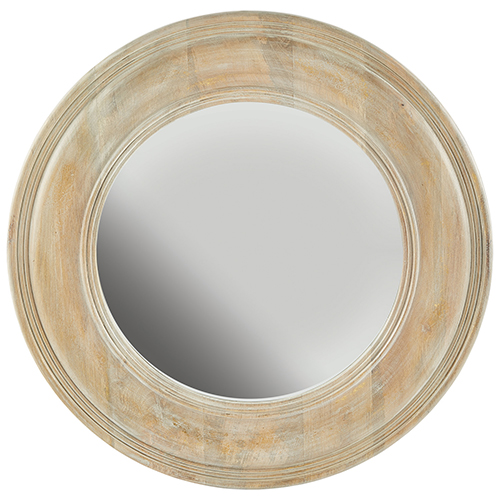White Washed Wood with Gold Leaf 30-Inch Mirror