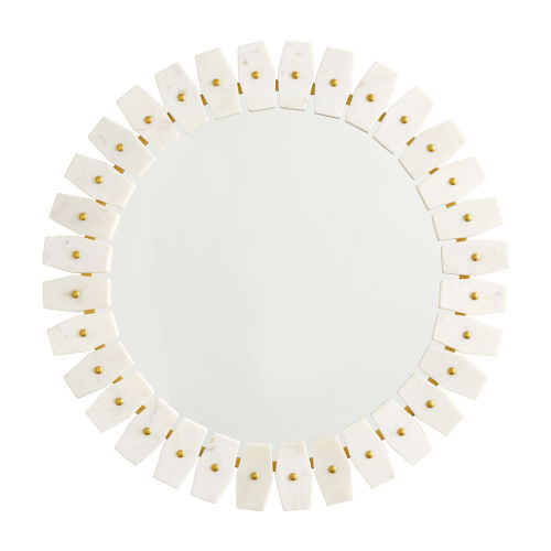 Mirror White Marble with Brushed Brass Metal Mirror