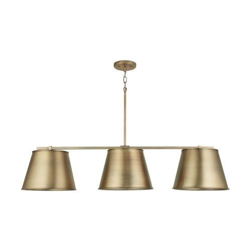 Aged Brass Three-Light Island Pendant