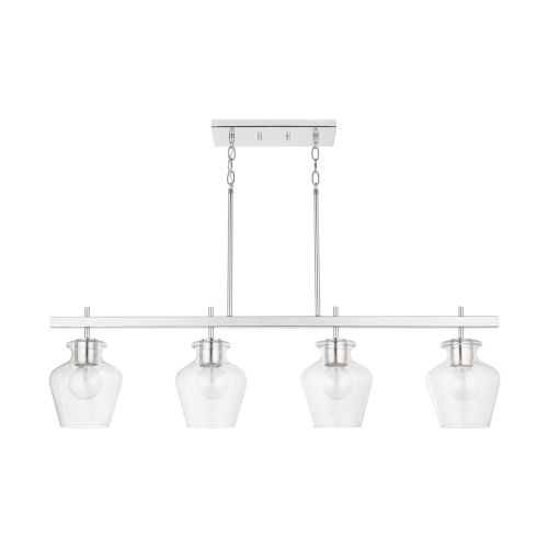 Danes Four-Light Island Pendant with Clear Glass