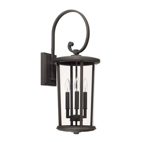 Howell Oil Rubbed Bronze Three-Light Outdoor Wall Lantern