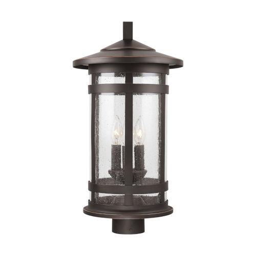 Mission Hills Oiled Bronze Three-Light Outdoor Post Lantern