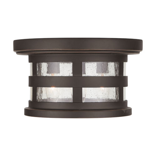 Mission Hills Oiled Bronze Three-Light Outdoor Flush and Semi-Flush