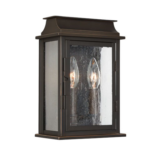 Bolton Two-Light Outdoor Wall Mount with Antiqued Glass