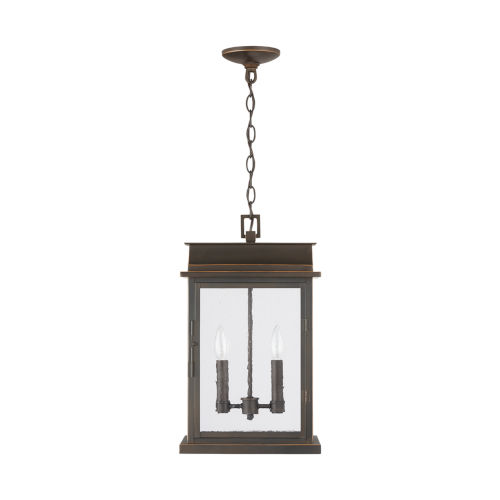 Bolton Oiled Bronze Two-Light Outdoor Hanging Pendant with Antiqued Glass