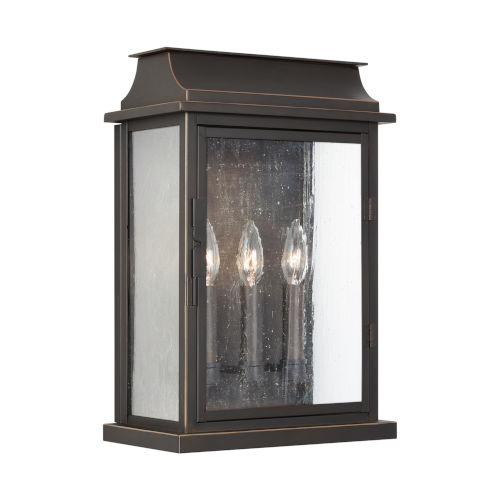 Bolton Three-Light Outdoor Wall Mount with Antiqued Glass