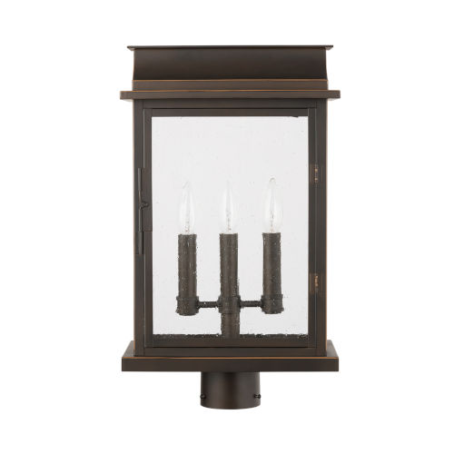 Bolton Three-Light Outdoor Post Mount with Antiqued Glass