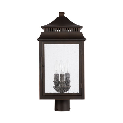 Sutter Creek Three-Light Outdoor Post Mount with Antiqued Water Glass