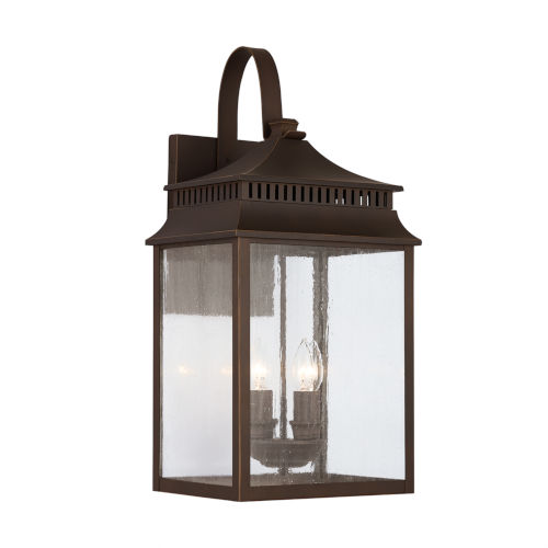 Sutter Creek Oiled Bronze Four-Light Outdoor Wall Mount with Antiqued Water Glass