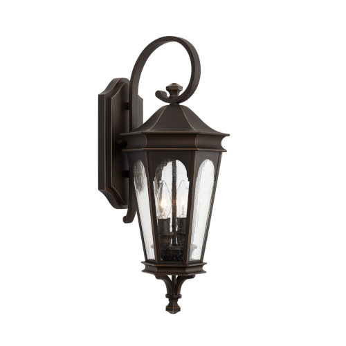 Inman Park Oiled Bronze Two-Light Outdoor Wall Mount with Antiqued Glass