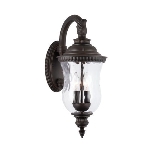 Ashford Oiled Bronze 20-Inch Two-Light Outdoor Wall Mount with Water Glass