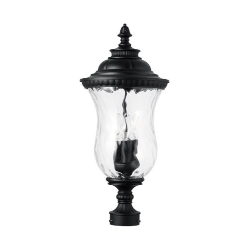 Ashford Black Three-Light Outdoor Post Mount with Water Glass