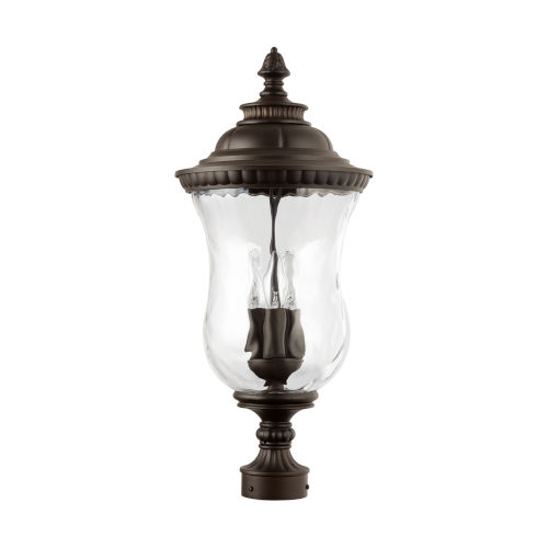 Ashford Three-Light Outdoor Post Mount with Water Glass