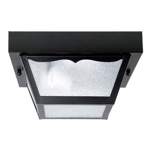 Black Eight-Inch One-Light Outdoor Flush Mount