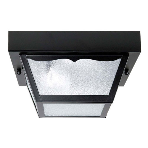 Black 10-Inch Two Light Outdoor Flush Mount