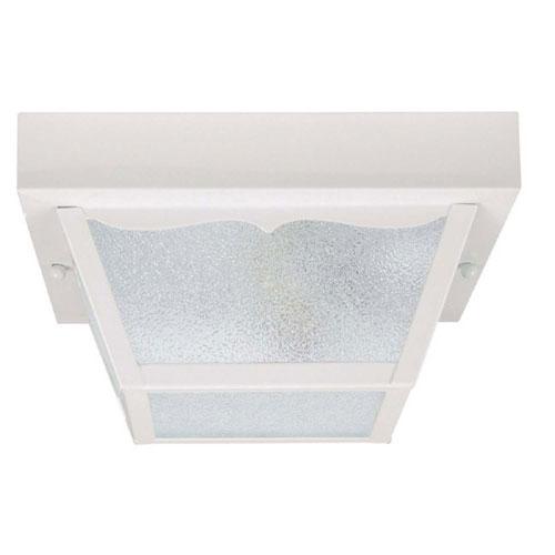 White 10-Inch Two Light Outdoor Flush Mount