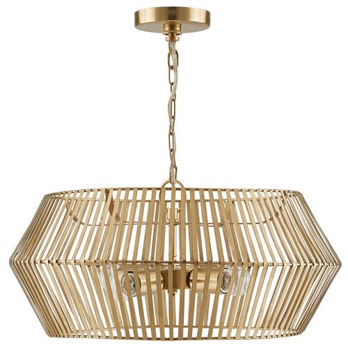 Matte Gold Four-Light Artisan Pendant