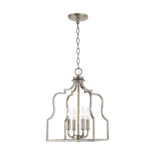 Antique Silver 18-Inch Four-Light Pendant