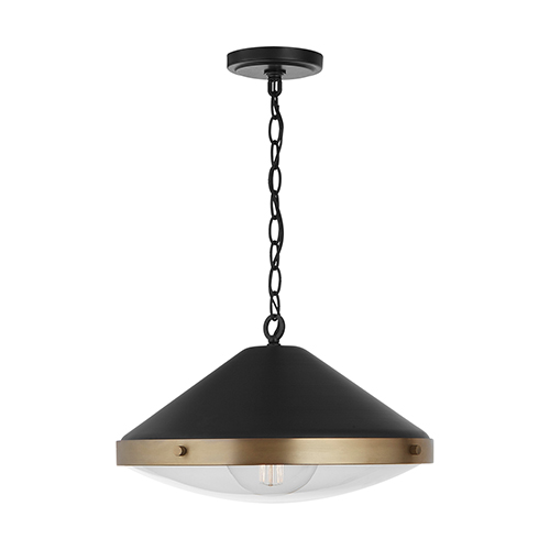 Polaris Aged Brass and Black One-Light Pendant