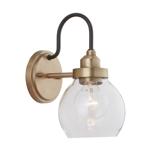 Daphne Aged Brass and Black 11-Inch One-Light Wall Sconce