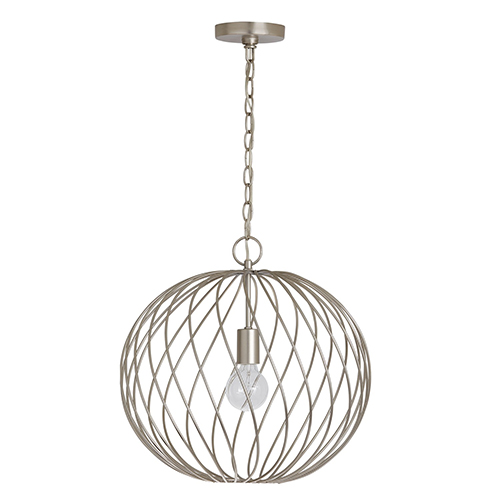 Glenda Argent Silver One-Light 17-Inch Geometric Pendant