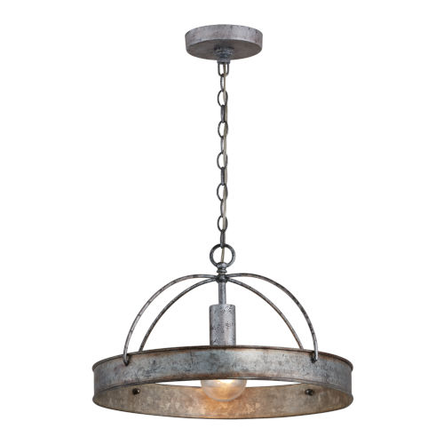 Alvin Antique Galvanized Metal Ring One-Light Pendant