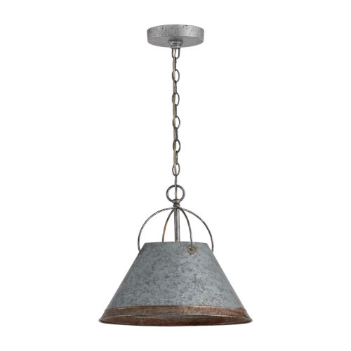 Alvin Antique Galvanized Metal Cone One-Light Pendant