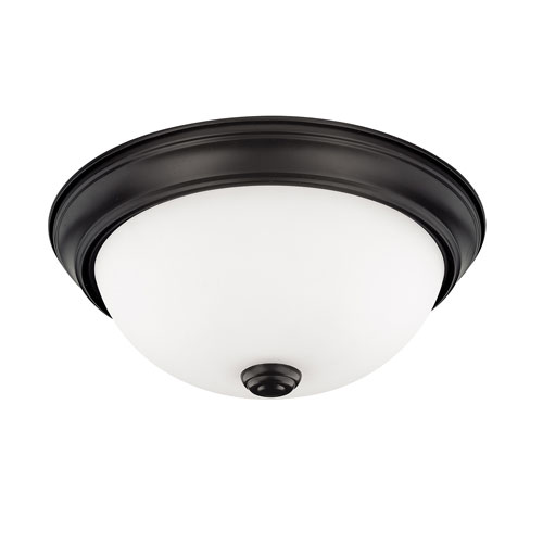 HomePlace Matte Black 11-Inch Two-Light Flush Mount