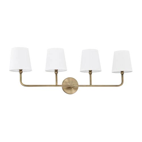 Dawson Aged Brass Four-Light Bath Vanity