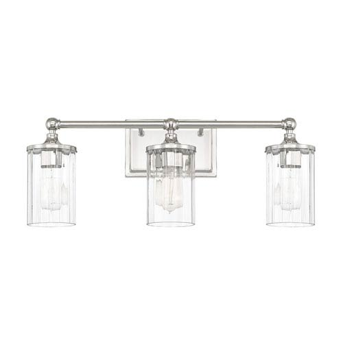 Camden Polished Nickel Three-Light Bath Vanity