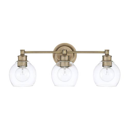 Capital Lighting Fixture Company Mid-Century Aged Brass Three-Light Bath Vanity