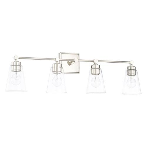 Polished Nickel 33-Inch Four-Light Bath Vanity