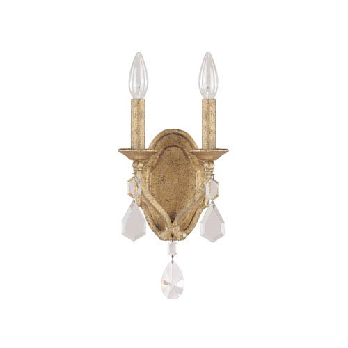Blakely Antique Gold Two Light Sconce with Crystals
