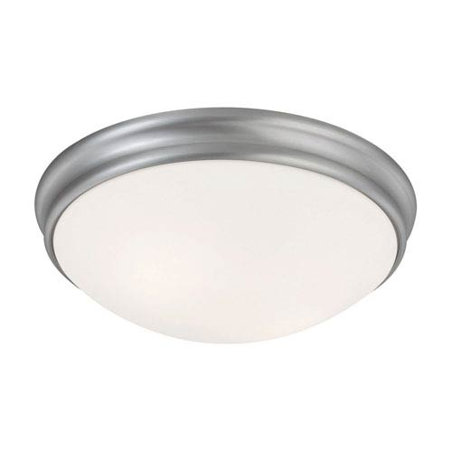 Matte Nickel Two-Light Flush Mount with White Glass